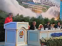 The Director-General of UNESCO, Irina Bokova, speaking at the opening ceremony of the International High-Level Conference on Water Cooperation, Tajikistan, August 2013.